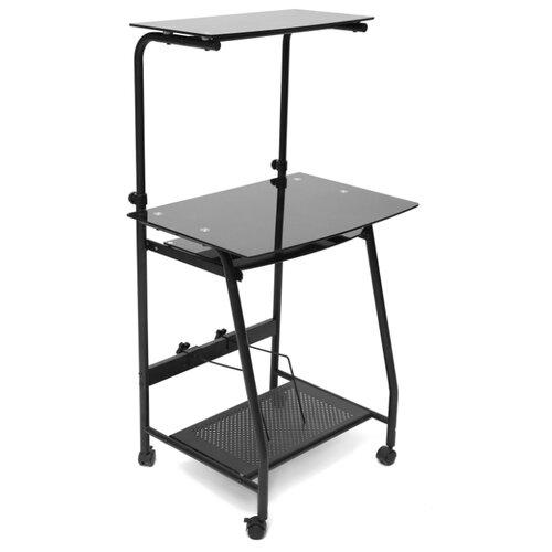 Компьютерный стол TetChair Prima WRX-03, 65х49 см, цвет: стекло тонированное/черный каркас