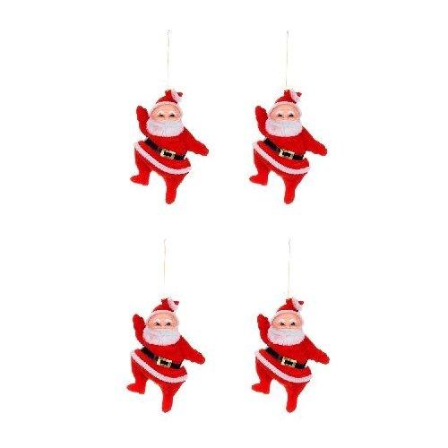 Фото - Набор елочных игрушек SNOWMEN Е94341, красный/белый, 9 см, 4 шт. набор елочных игрушек snowmen снеговик белый с метлой 4 штуки