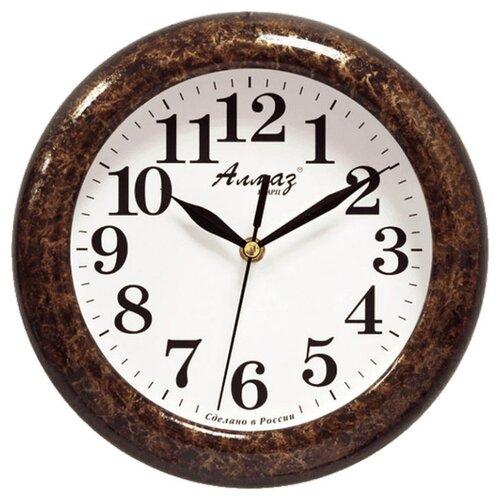 Часы настенные кварцевые Алмаз P04-P10 темно-коричневый/белый часы настенные кварцевые алмаз p04 p10 бежевый белый