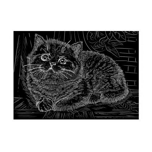 Гравюра Рыжий кот Милый котенок, в пакете с ручкой (Г-9386) золотистая основа