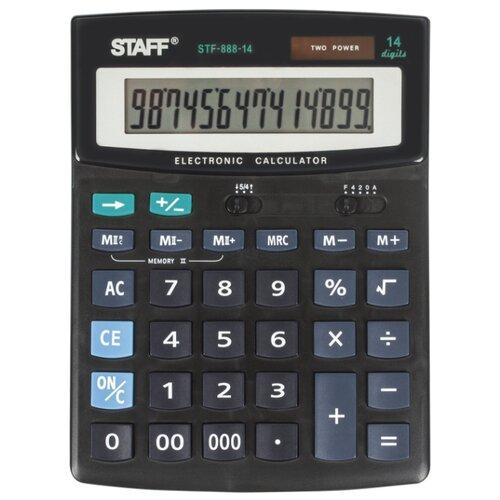 Калькулятор бухгалтерский STAFF STF-888-14 черный калькулятор canon as 888