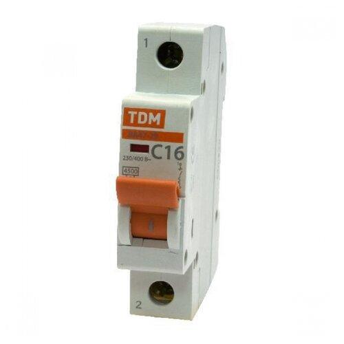 Автоматический выключатель TDM ЕLECTRIC ВА 47-29 1P (C) 4,5kA 16 А автоматический выключатель tdm еlectric пар 1p 4 5 ka 25 а