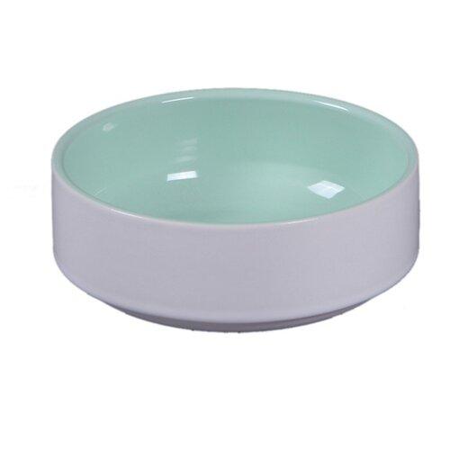 Миска Joy Классика керамическая для кошек 380 мл белый/зеленый