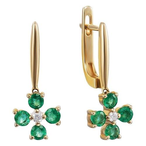 цена на JV Серьги с изумрудами и бриллиантами из жёлтого золота AAS-3803E-SR-EM-YG