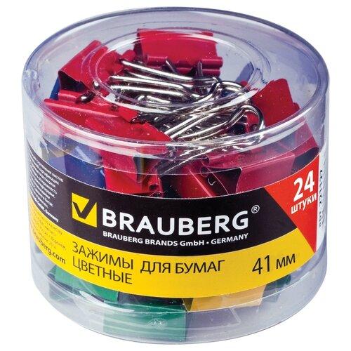 Купить BRAUBERG Зажимы для бумаг цветные 221130 41 мм (24 шт.) ассорти, Скрепки, кнопки
