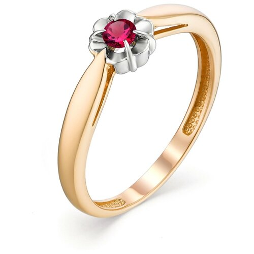 АЛЬКОР Кольцо с 1 рубином из красного золота 13091-103, размер 17.5 фото