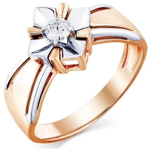 Мастер Бриллиант Кольцо Цветок с 1 бриллиантом из комбинированного золота 1-407914-00-00, размер 18.5