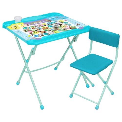 Купить Комплект Nika стол + стул Нашидетки (КНД4-3) Пушистая азбука 60x52 см голубой, Парты и столы