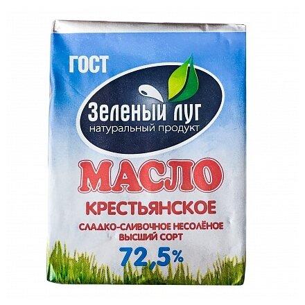 Зеленый луг масло сливочное Крестьянское 72.5%, 180 г