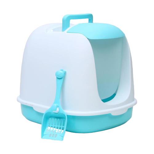 Туалет-домик для кошек Пижон 47317554731754 47х40х39 см бело-голубой