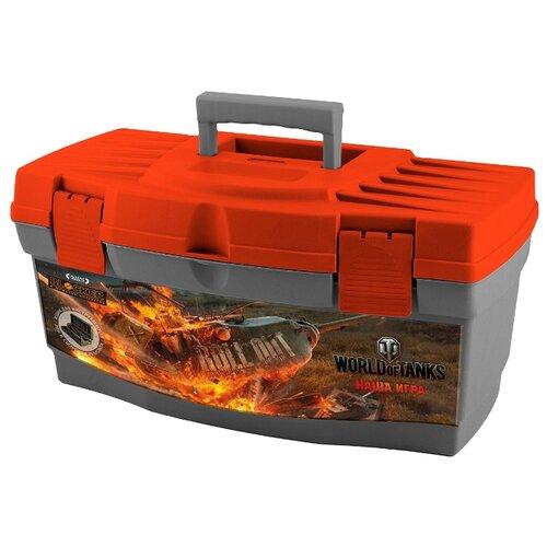 Ящик с органайзером BLOCKER World of Tanks BR5012 40.5x21.5x23 см 16'' серо-свинцовый/оранжевый ящик для инструментов blocker world of tanks br5016срсвцор 51 х 26 х 22 см