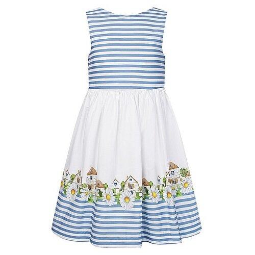 Платье Mayoral размер 98, белый/голубой/полоска