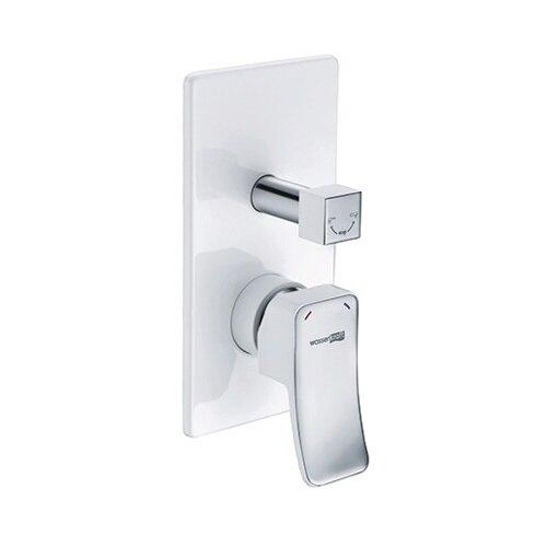 Смеситель для ванны с подключением душа WasserKRAFT Aller 10641White однорычажный встраиваемый белый/хром смеситель для ванны с подключением душа wasserkraft elbe 7441 однорычажный встраиваемый