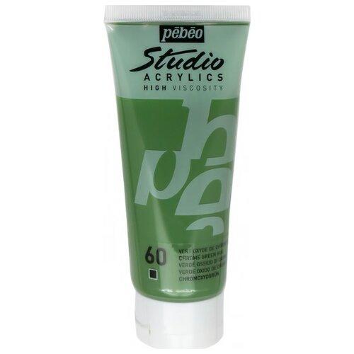 Pebeo Краска акриловая Studio Acrylics, 100 мл зеленый хром pebeo краска акриловая acrylic paint матовая цвет 097820 мышиный 59 мл