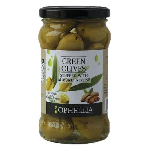 Ophellia Зеленые оливки фаршированные миндалем, стеклянная банка 315 мл gaea оливки зеленые с миндалем 295 г