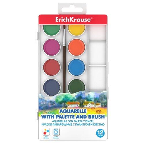 ErichKrause Акварельные краски с палитрой и кистью 12 цветов (50583) erich krause краски акварельные art berry с палитрой и кистью 12 цветов