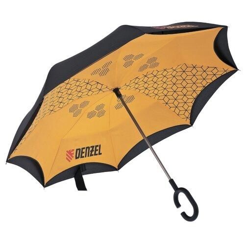 Зонт-трость механика Denzel 69706 оранжевый/черный