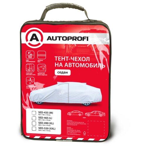 Тент-чехол на автомобиль AUTOPROFI SED-490 (XL), седан, водонепр., молния для двери вод., 490х178х119 см., разм. XL, 1/10