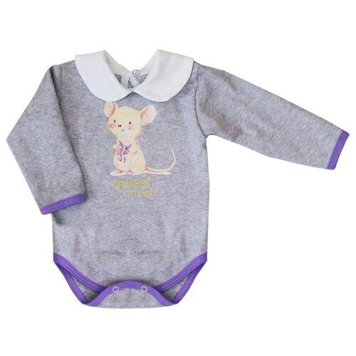 Боди KotMarKot размер 68, серый/фиолетовый/розовый свитшот kotmarkot размер 68 серый фиолетовый