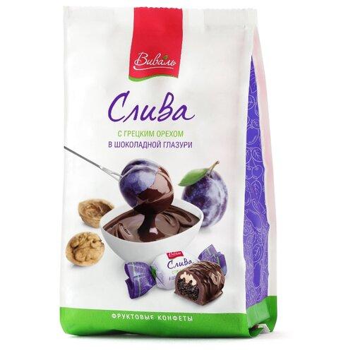 Фото - Конфеты Виваль слива в шоколадной глазури 180 г грецкий орех кремлина в шоколадной глазури 135 г