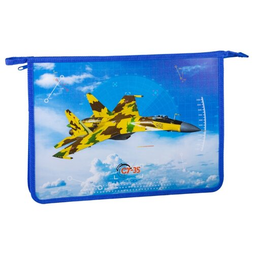 ArtSpace Папка для тетрадей на молнии Военная техника А4, 2 отделения, пластик синий недорого