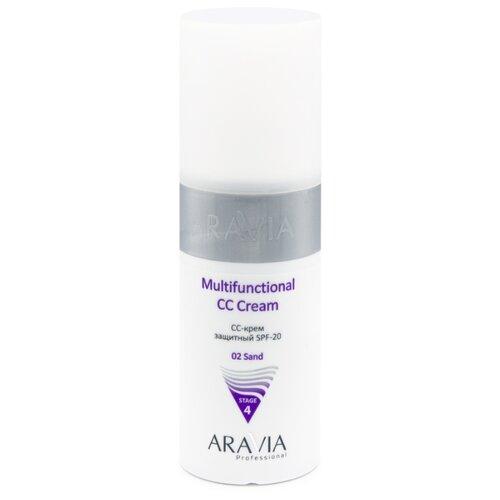 ARAVIA Professional CC крем защитный Multifunctional, SPF 20, 150 мл, оттенок: 02 Sand cc крем защитный professional multifunctional cc cream spf20 stage 4 150мл 01 vanilla