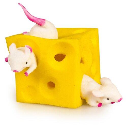 Игрушка-мялка Junfa toys Мышки в сыре желтый/белый