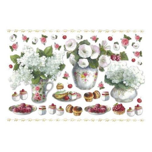 Бумага рисовая Кондитерские изделия и цветы 48 х 33 см