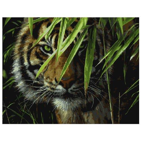 ВанГогВоМне Картина по номерам Тигр на охоте, 40х50 (ZX 20340) картина по номерам вангогвомне голубая ваза