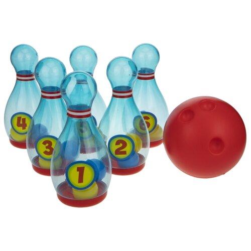 Игровой набор 1TOY Боулинг со светом (Т17325) голубой/красный