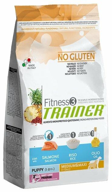 Корм для собак TRAINER Fitness3 No Gluten Puppy Medium&Maxi Salmon and rice dry
