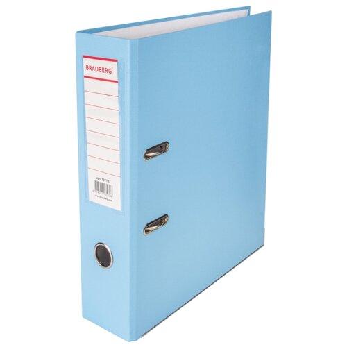 BRAUBERG Папка-регистратор А4 с покрытием из ПВХ и уголком, 80 мм ГолубаяФайлы и папки<br>