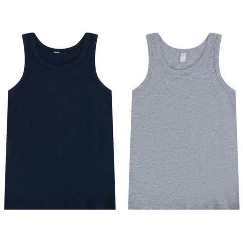 Купить Майка Leader Kids 2 шт., размер 98-104, серый/синий, Белье и пляжная мода
