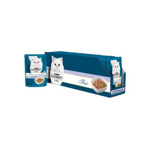 Корм для кошек Gourmet Перл соус де-люкс с телятиной 24шт. х 85 г (кусочки в соусе) корм для кошек gourmet перл с говядиной 24шт х 85 г кусочки в соусе