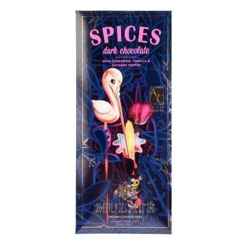 Шоколад Mulate Spices горький с корицей, кайенским перцем и ванилью, 70% какао, 80 г