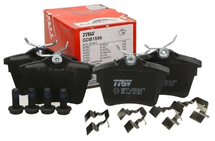 Дисковые тормозные колодки задние TRW GDB1596 для Citroen C5, Peugeot 407, Peugeot 607 (4 шт.)