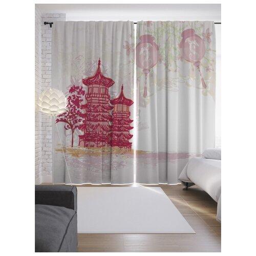 Портьеры JoyArty Японский образ на ленте 265 см (p-13119)