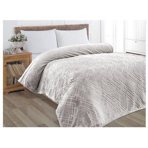 Плед KARNA PIRAMIT 160x220 см, серый плед полутораспальный karna palma 160 220 см бежевый