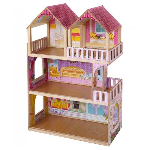 Купить SunnyWoods кукольный домик Серафима со съемной мансардой, розовый/бежевый, Кукольные домики