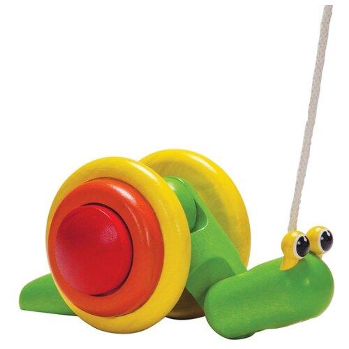 Купить Каталка-игрушка PlanToys Pull-Along Snail (5108) зеленый/желтый/красный, Каталки и качалки