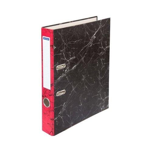 OfficeSpace Папка-регистратор с металлической окантовкой A4, мрамор, 50 мм черный/красный