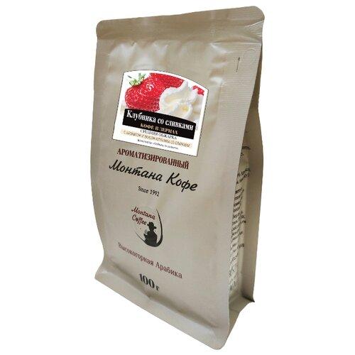 цена на Кофе в зернах Монтана Клубника со сливками, ароматизированный, арабика, 100 г