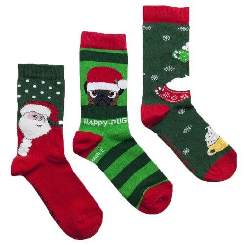 Носки Lunarable Новогодние, 3 пары, размер 35-39, зеленый/красный/салатовый