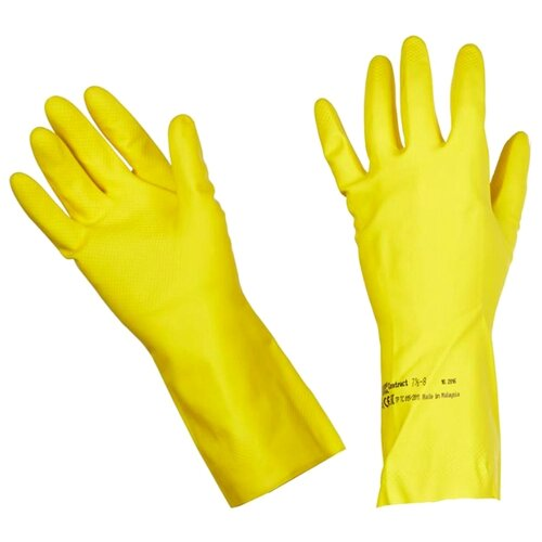 Перчатки Vileda Контракт, 1 пара, размер XL, цвет желтый перчатки vileda style 1 пара размер l цвет розовый