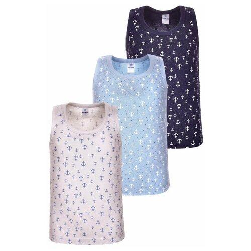Купить Майка BAYKAR 3 шт., размер 146/152, бежевый/голубой/синий, Белье и пляжная мода