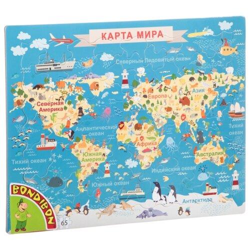 Купить Рамка-вкладыш BONDIBON Карта Животные мира (ВВ4662), 65 дет., Пазлы
