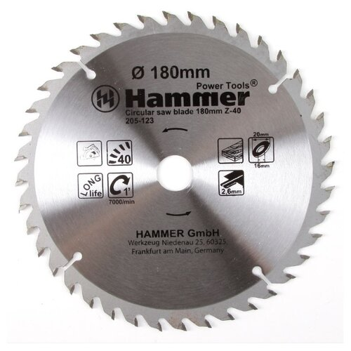 Пильный диск Hammer Flex 205-123 CSB WD 180х20 мм пильный диск hammer flex 205 106 csb wd 165х30 мм
