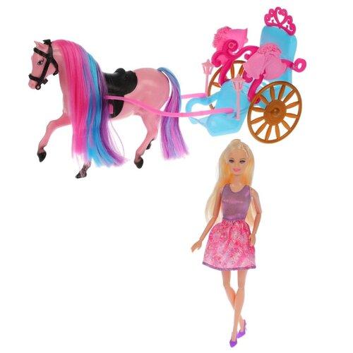 Кукла Shantou Gepai Bettina с каретой и лошадью, 28 см, 68162 кукла shantou gepai с коляской cs5832ha