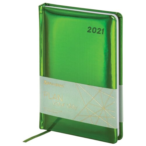 Купить Ежедневник BRAUBERG Holiday датированный на 2021 год, искусственная кожа, А5, 168 листов, зеленый, Ежедневники, записные книжки