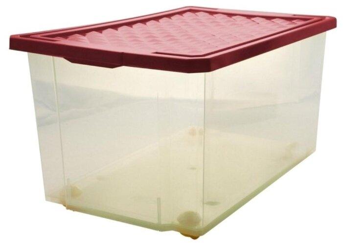 Ящик для хранения игрушек и вещей 57 литров на колесиках бордовый BranQ